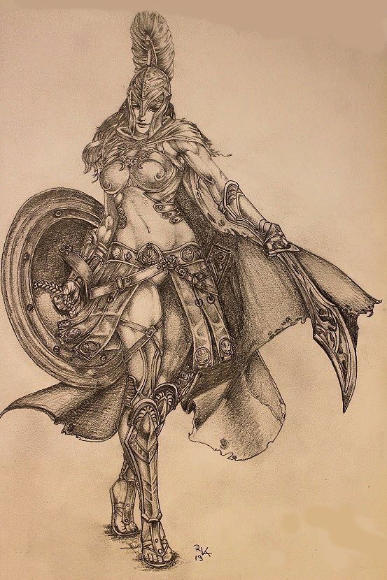 female spartan warrior ZEICHNUNGEN